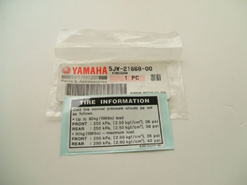 Tyre pressure warning sticker 5JW-21668-00
